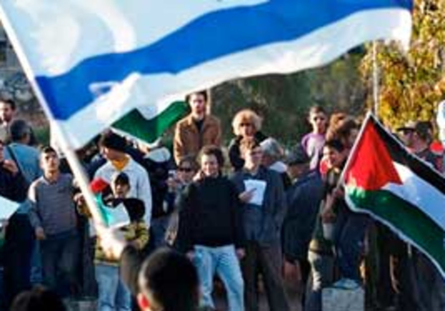Palestinian and Israeli activists protest in Sheik