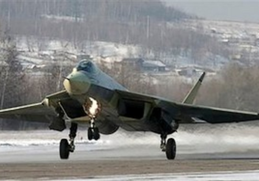 A Russian-made Sukhoi T-50 prototype fifth-generat