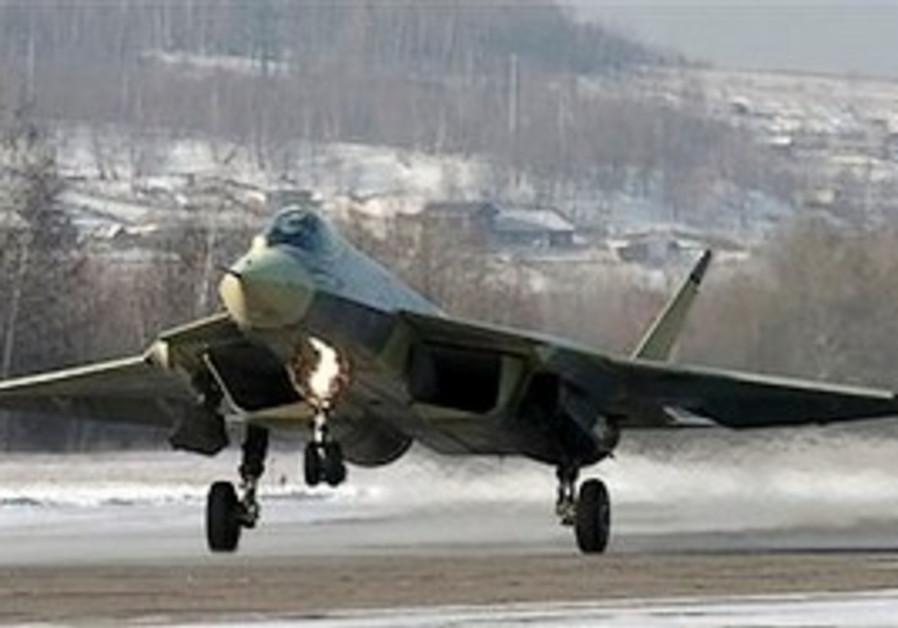 A Russian-made Sukhoi T-50 prototype fifth-generat