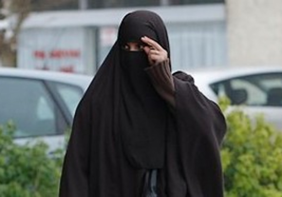 A covered Muslim woman in France