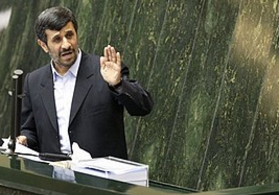Ahmadinejad speaks in Teheran.