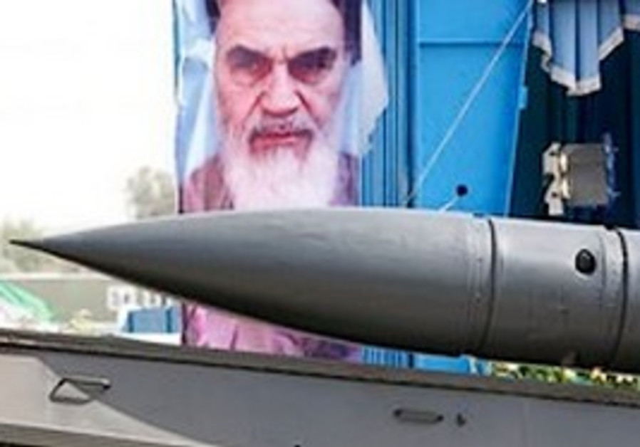 Iranian missile carried on flatbed truck