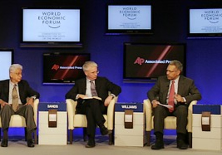 Panelists participate in a session at the World Ec