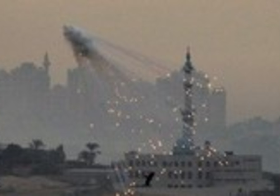 Tank shells exploding over Gaza during Operation C