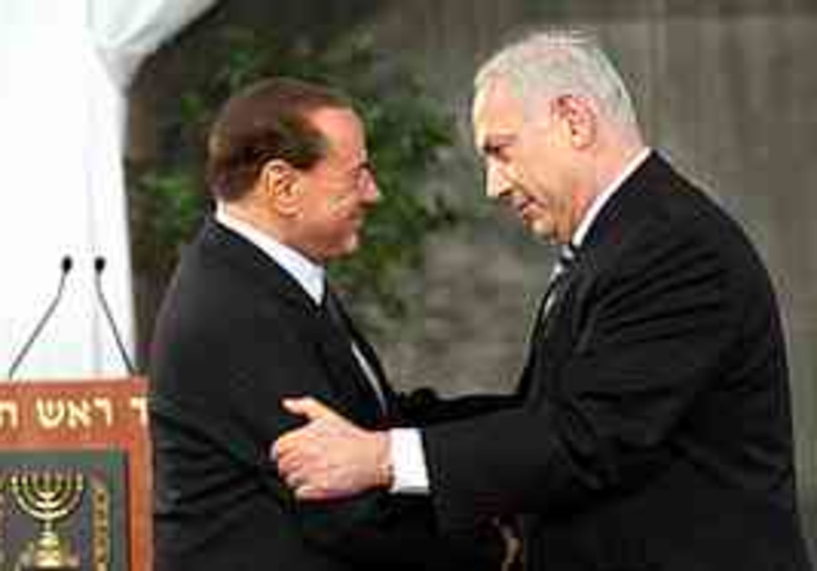 Berlusconi and Netanyahu at the PMO in Jerusalem,