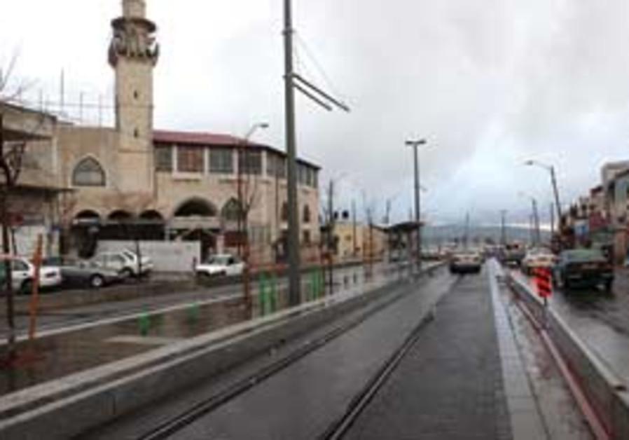 The light rail tracks in northern Jerusalem.