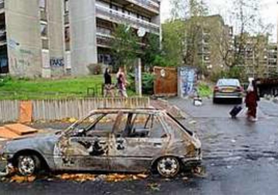 A burnt car (illustrative).