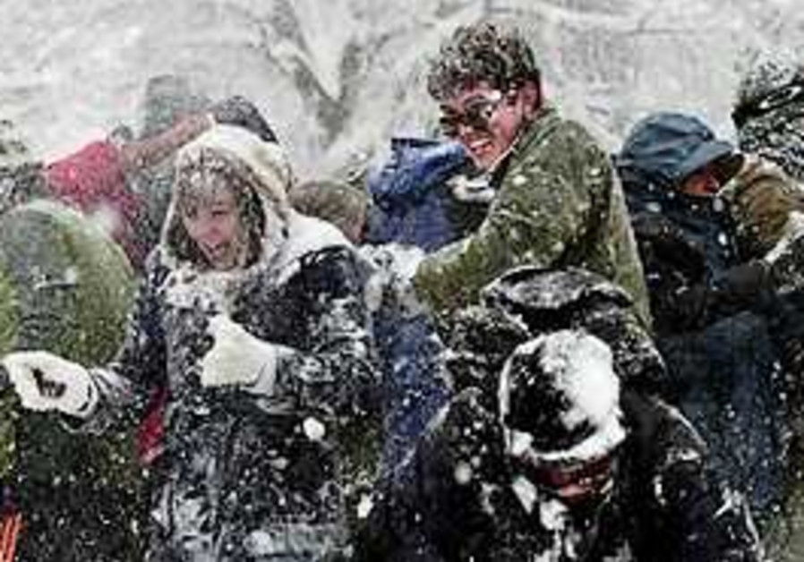 Hundreds of people turn up for a massive snowball