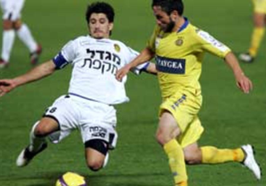 Maccabi Netanya vs. Maccabi Tel Aviv, yesterday.