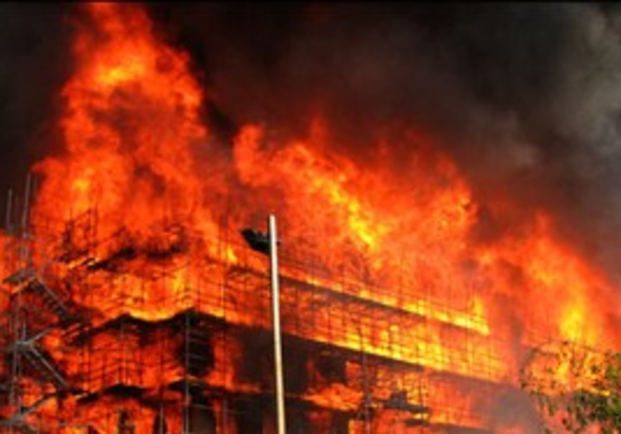 builiding on fire