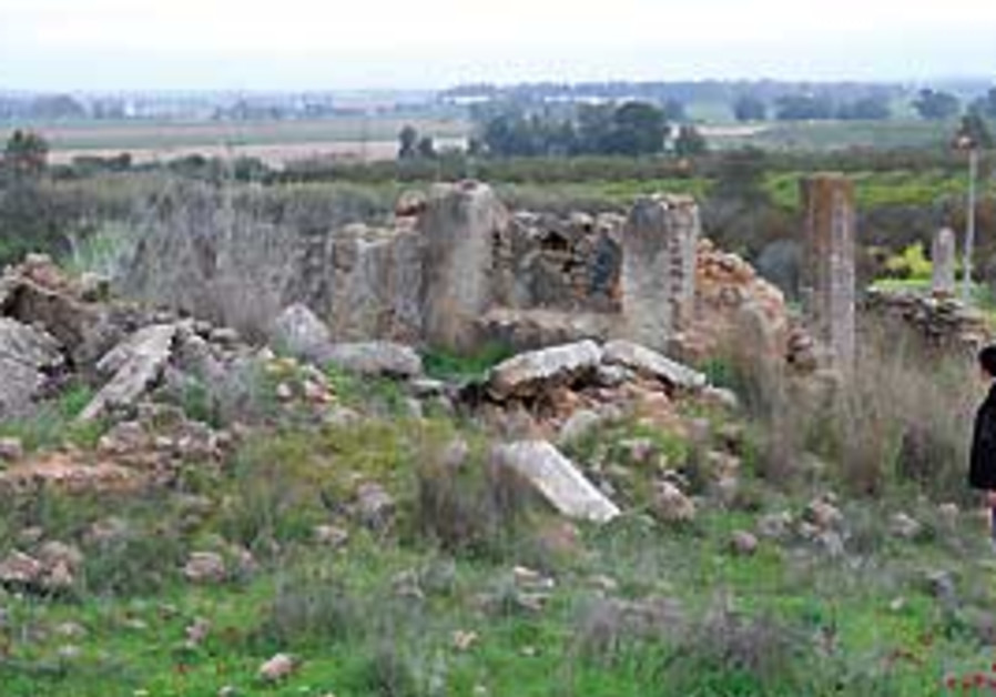 Ruins of the old Arab city of Najd, with Sderot in
