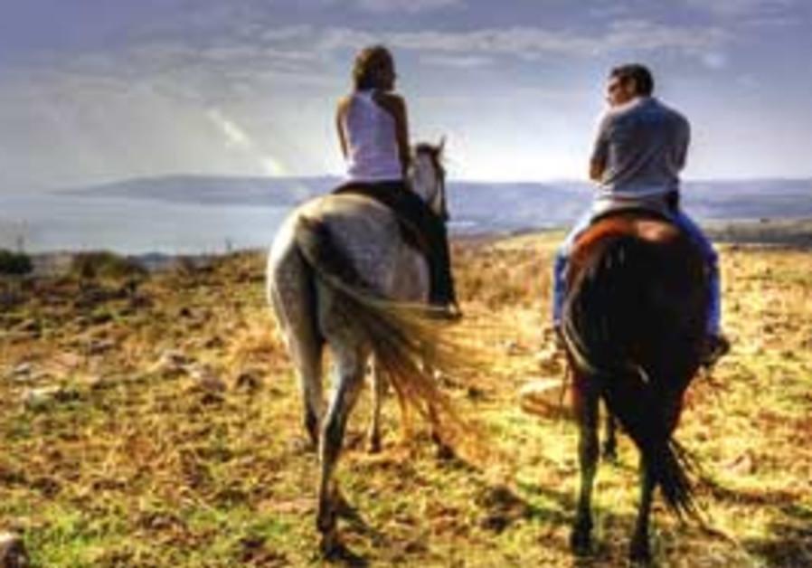 Horseback riding at the Vered Hagalil farm.