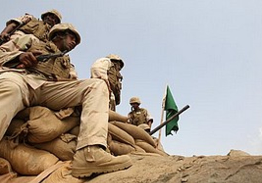 Saudi soldiers occupy a position on Mt. Doud.