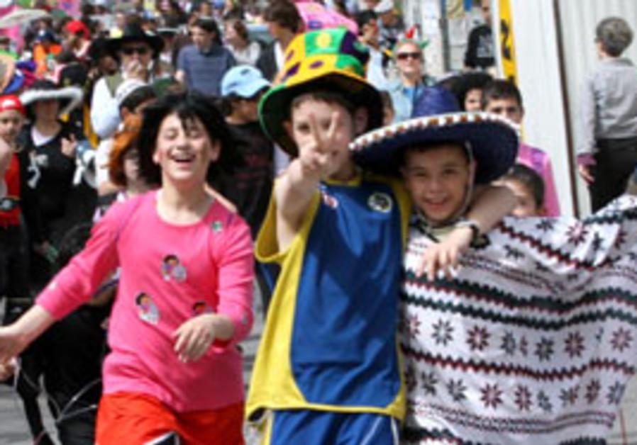 Children in costume during Purim.