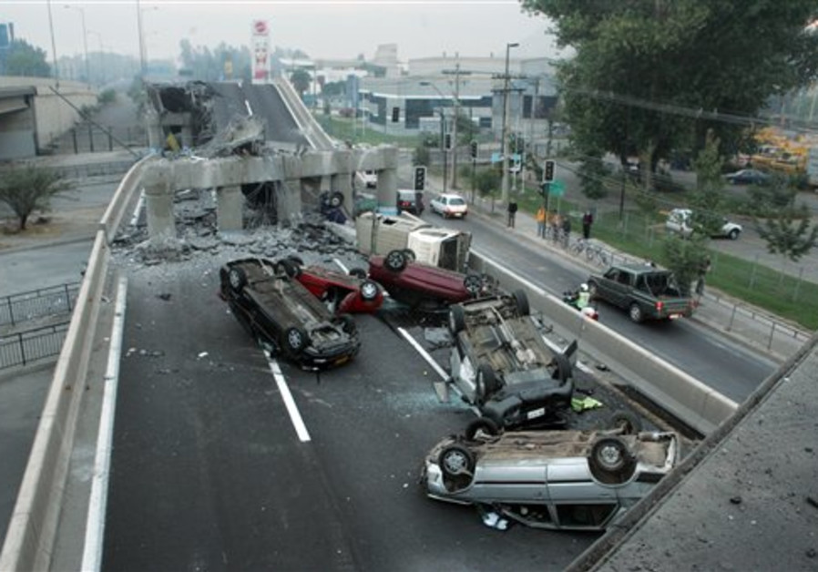 Vehicles that were driving along a highway that co