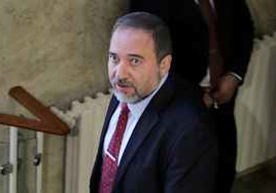Lieberman on the way to a cabinet meeting on Thurs