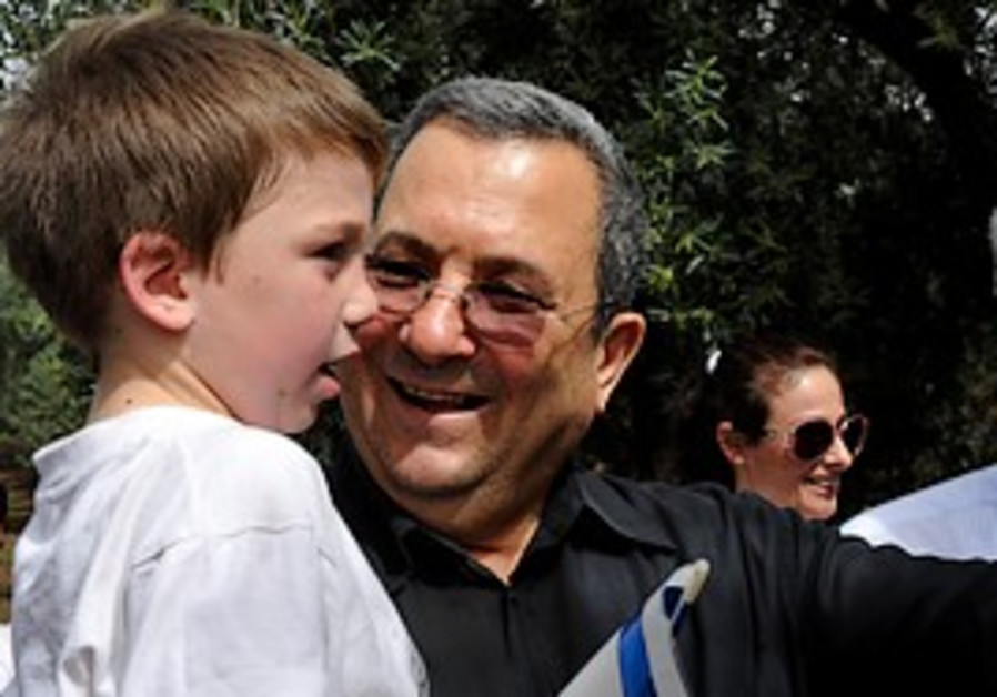 Defense Minister Ehud Barak during a visit to the