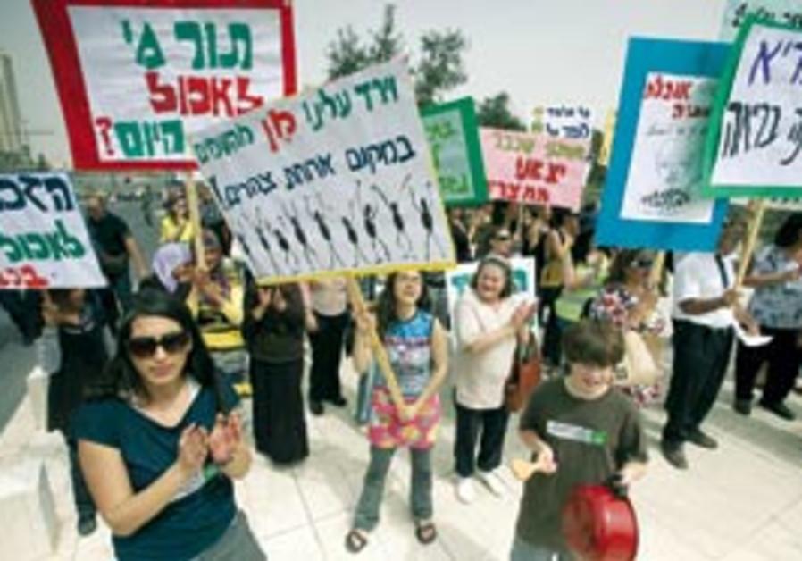 Demonstrators hold a mock seder in Jerusalem (Arie