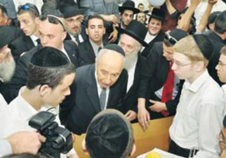 President Shimon Peres in Bnei Brak on Wendesday.