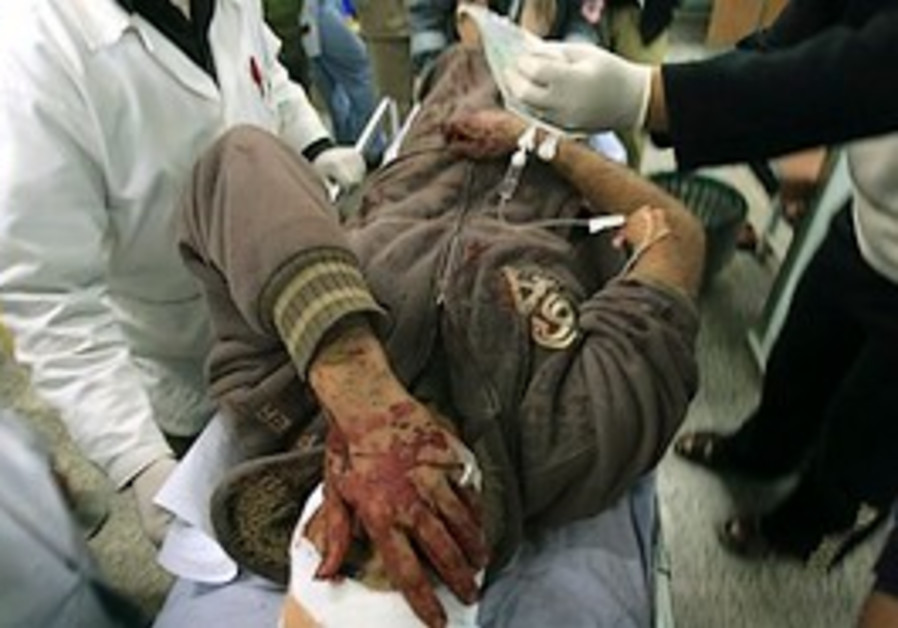 A man wounded in a Gaza airstrike.