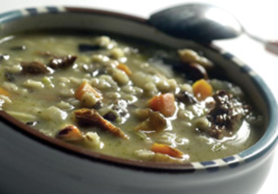 Mushroom-barley soup.