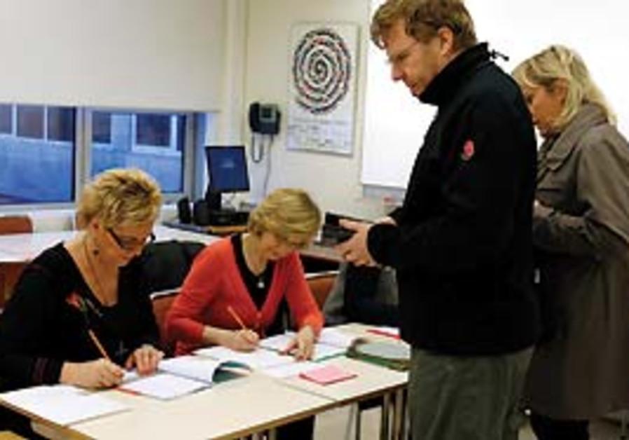 Icelanders vote in Reykjavik earlier this month in