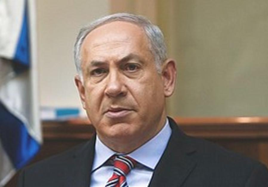 Netanyahu at the weekly cabinet meeting in Jerusal