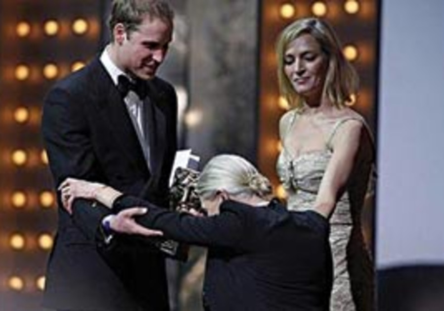 VANESSA REDGRAVE curtseys to Prince William at the