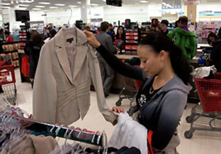 A woman shops at a department store in New York.