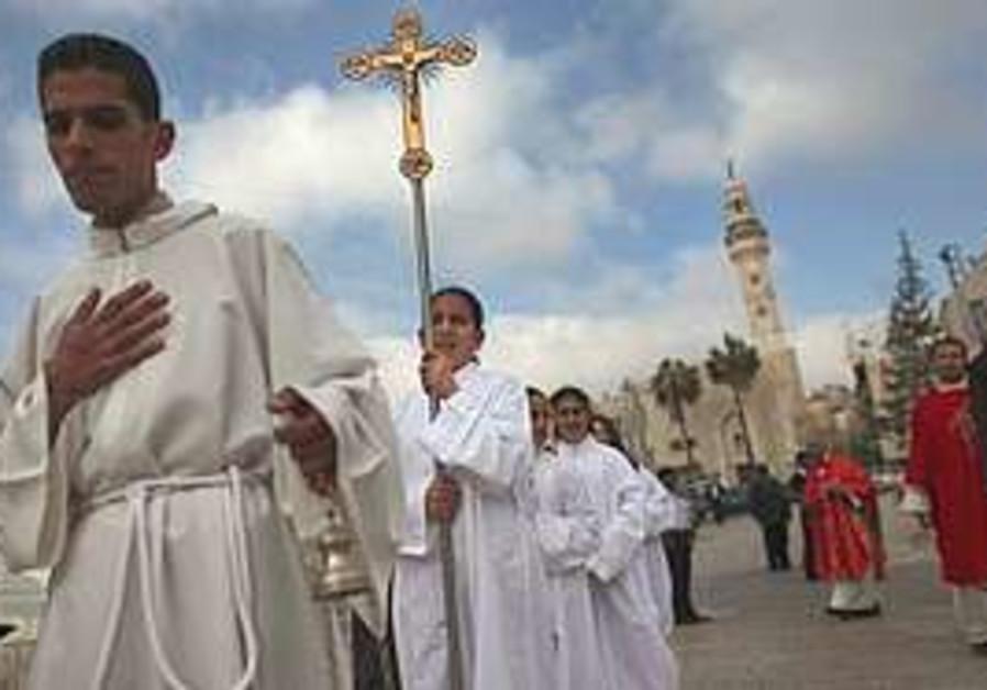 Catholic altar children participate in a processio