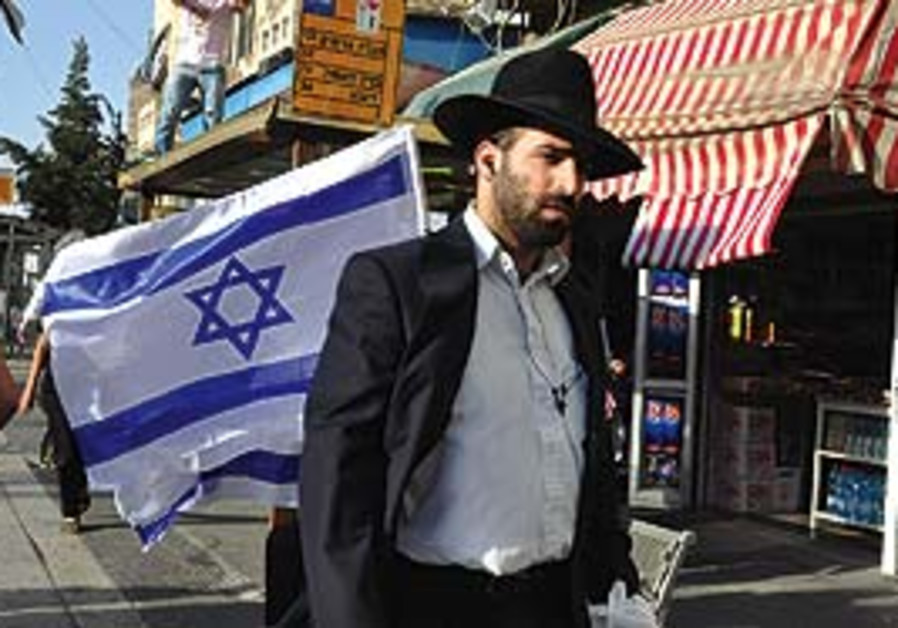 A haredi man in Jerusalem on Independence Day.