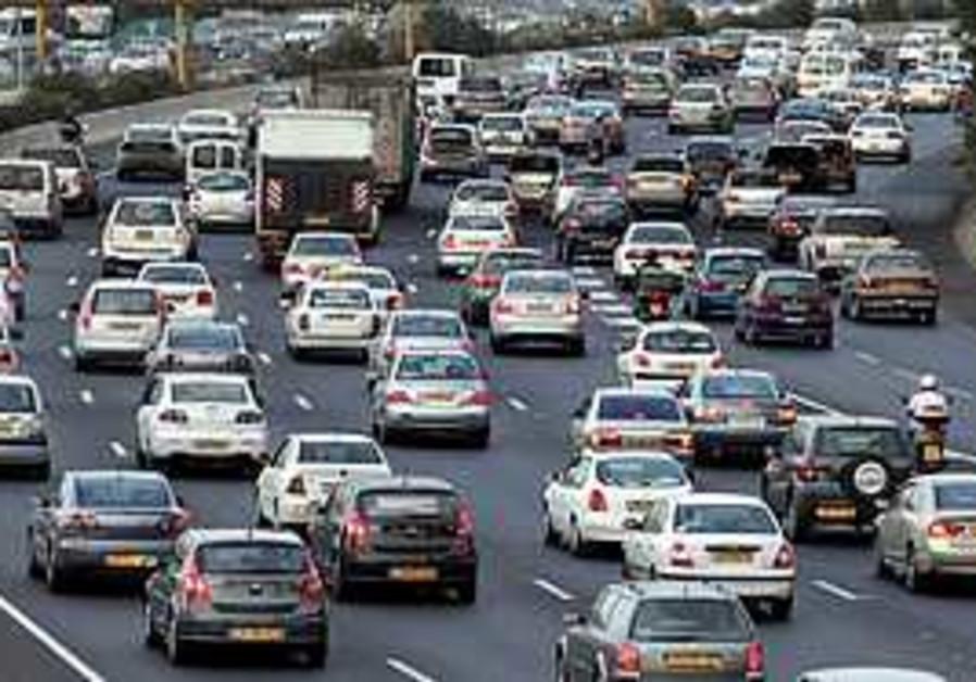 Traffic jam on Ayalon Highway.