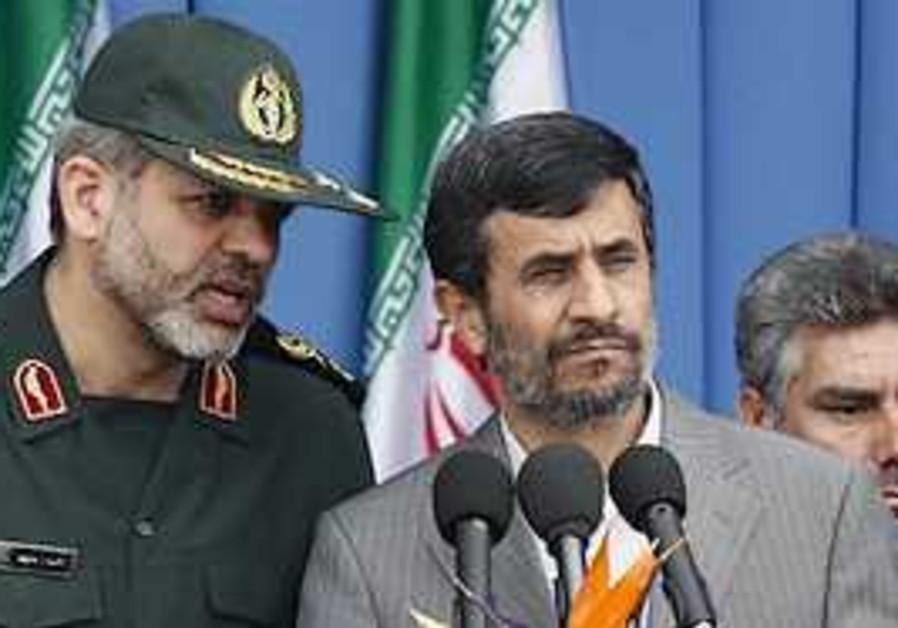 Iranian President Mahmoud Ahmadinejad, centre righ