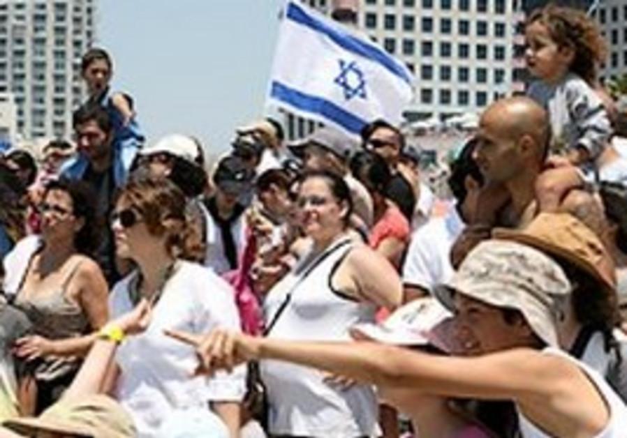 Israelis celebrating Independence Day in Tel Aviv,