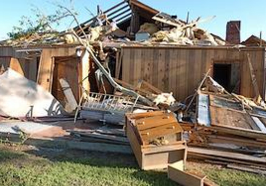 Damage to the bedroom of a home in Satartia, Missi