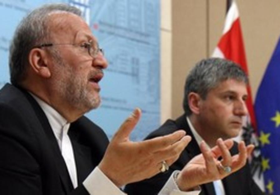 Iranian Foreign Minister Manouchehr Mottaki at a n