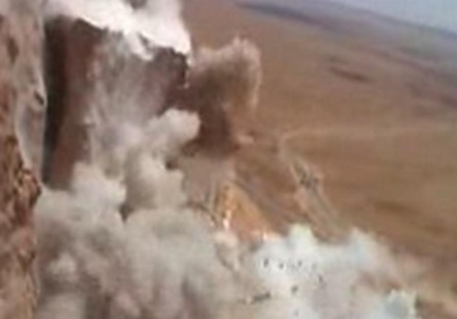 A massive rock is blown up in Mizpe Ramon, Tuesday