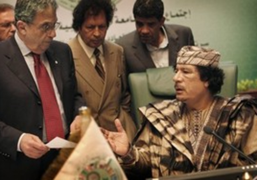 Gaddafi hosting the Arab League Summit