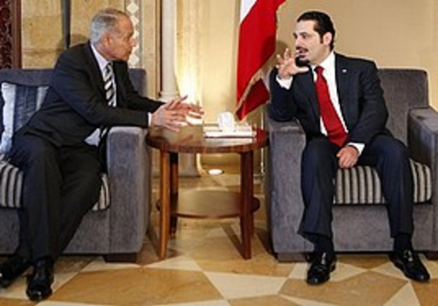 Hariri meets with Aboul Gheit in Beirut, Saturday.