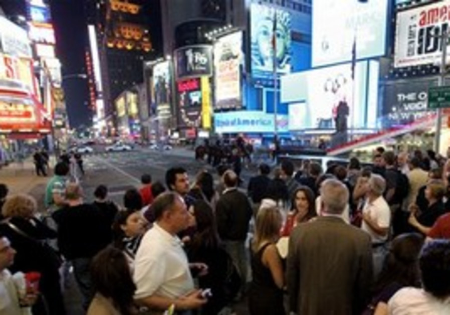 Crowd of onlookers at evacuated Times Square