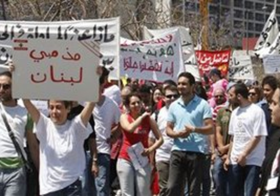Lebanese secular activists march