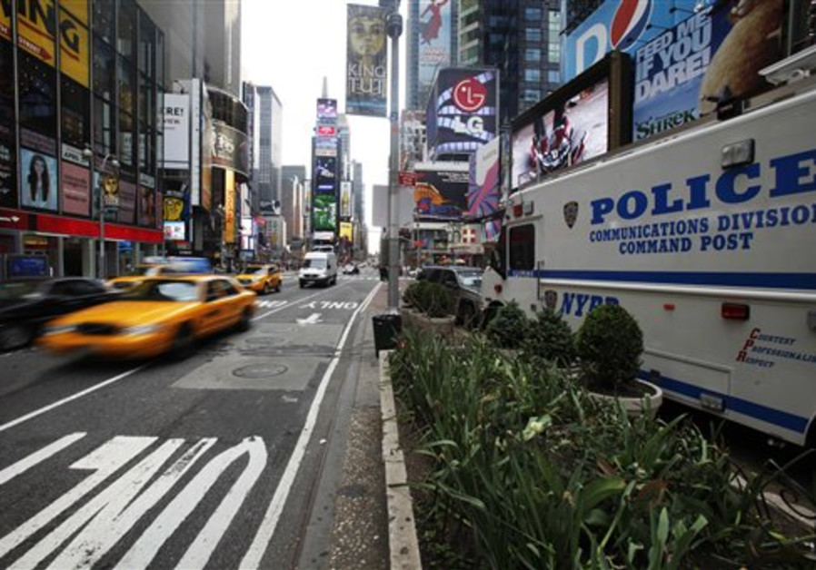 A police vehicle is seen in Times Square in New Yo