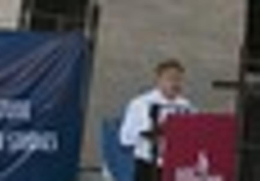 Sharansky speaks during the dedication cermony for