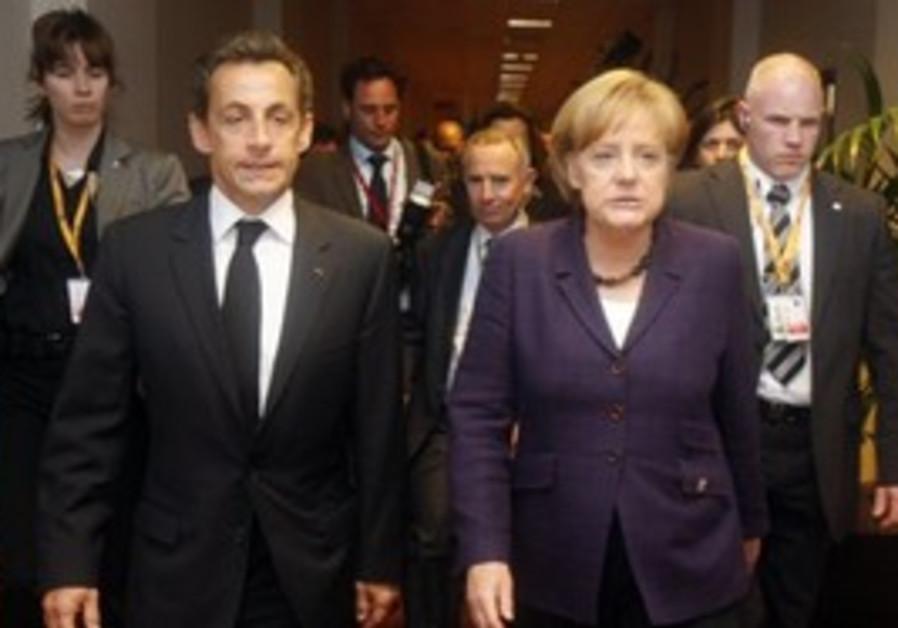 French President Nicolas Sarkozy, second left, wal