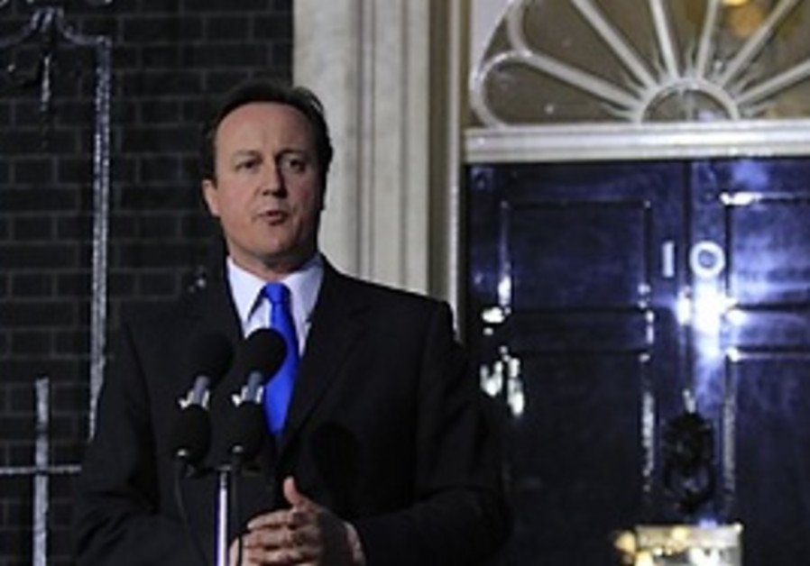 Britain's new Prime Minister David Cameron makes a
