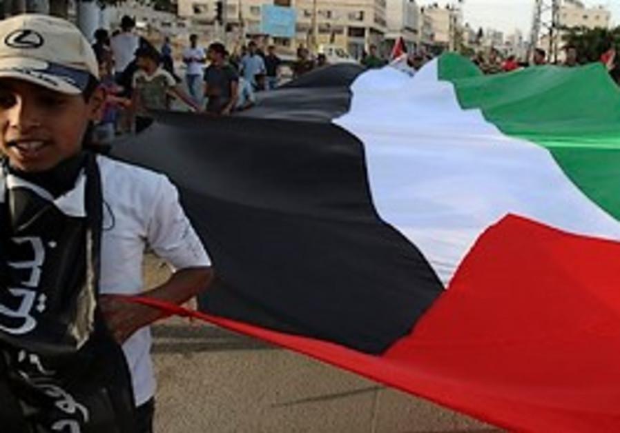 A Palestinian boy marks Nakba Day in Gaza
