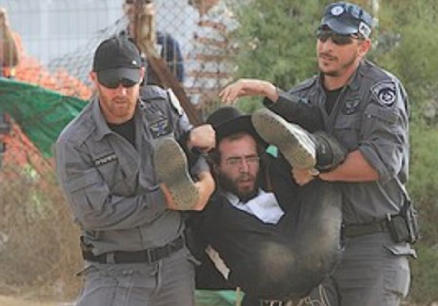 Haredi arrested at Barzilai protest.