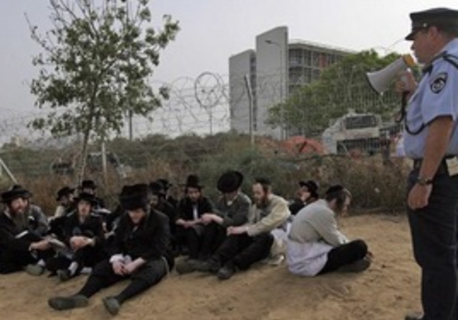 Haredim detained in demonstrations at Barzilai hos