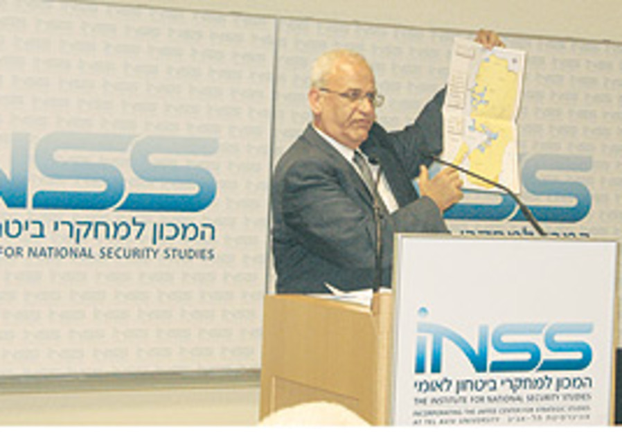 Chief Palestinian negotiator Saeb Erekat at Tel Av