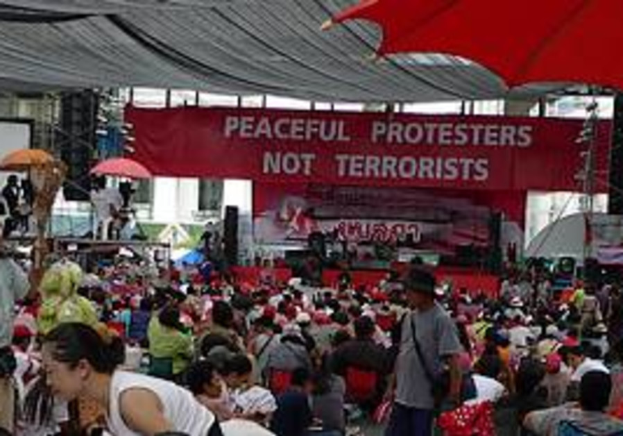 The Red Shirt protest tent in Bangkok.